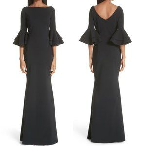 $995 Retail Size 6 Iva Ruffle Bell Sleeve Gown